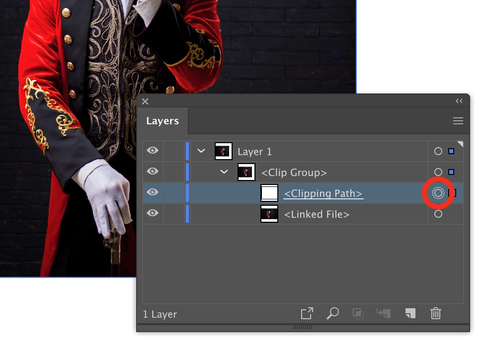Targetting a clipping mask in Adobe Illustrator layers panel