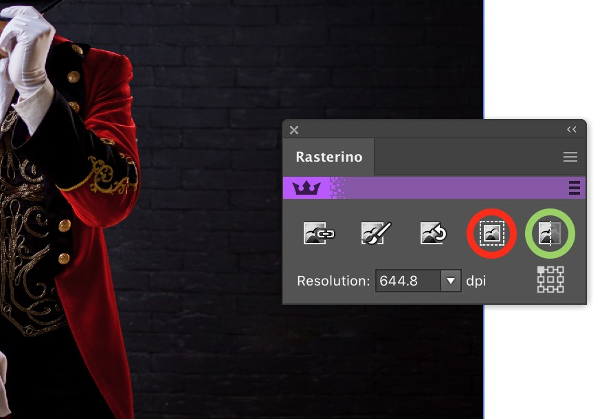 Rasterino Panel with Trim and Crop Image icons