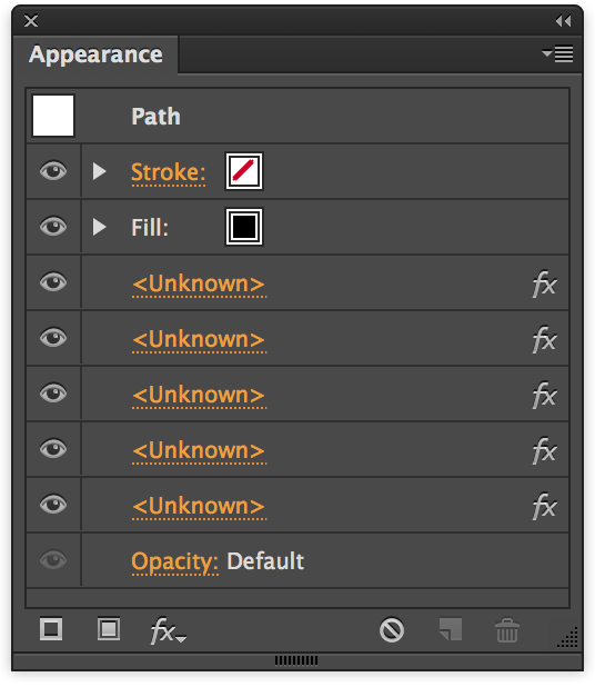 Adobe Illustrator - Appearance Panel listing effects where plugins are missing